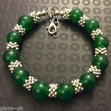 "CB35 Silver Bracelet, 9mm Green Jade Beads, 7.5""-8.5"" (20-22cm) BOXED Plum UK"