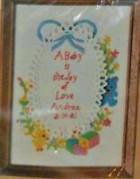 "Vintage 1981 Caron Stitchery Kit 5"" x 7"" A Baby is The Joy Crewel Embroidery Kit"