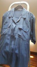 Camicetta blu seta 100% manica corta