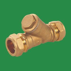 Compression Inline Y Filter - 22mm Plumbing DIY Strainer Brass