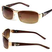 New DG Eyewear Mens Womens Rectangular Sunglasses Fashion Wrap Around Gold Retro