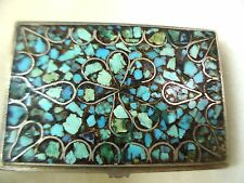 SNUFF BOX VINTAGE HANDMADE SILVER PERSIAN ISFAHAN CRAFT& TURQUOISE MOSAIC 1940's
