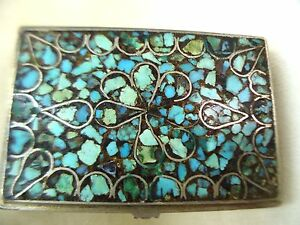 SNUFF VINTAGE HANDMADE SILVER MIDDLE EAST CRAFT BOX& TURQUOISE MOSAIC 1940's
