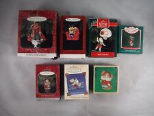 Pm2 Lot of 7 Vtg Hallmark Collectible Christmas Tree Ornaments W/ Box Santa