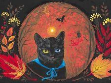 1.5x2 DOLLHOUSE MINIATURE PRINT OF PAINTING RYTA 1:12 SCALE HALLOWEEN AUTUMN CAT