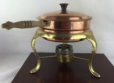 Copper Chafing Dish Double Boiler Food Warmer Fondue Pan Made Italy