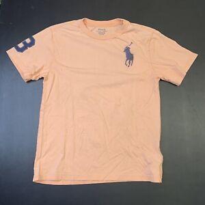 Kids Polo Ralph Lauren Shirt M (10-12) Peach Big Pony Horse Casual Designer