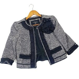 Ann Taylor 2 Petite Tweed Bolero Jacket Black And Grey Career Wear