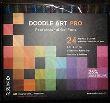 BRAND NEW! DOODLE ART PROFESSIONAL GEL PENS 24 METALLIC & GLITTER 25% MORE INK!