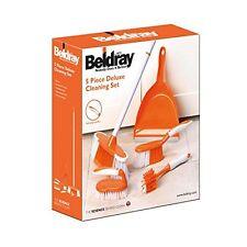 BELDRAY 5 piece set de nettoyage maison plastique brosse gommage, ramasser, balai, poignée NOUVEAU