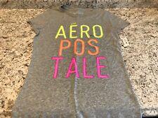 Girls Aeropostale T Shirt Gray Bright Letters Size Large. E14