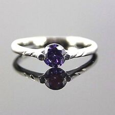 New Lovely Purple Tanzanite  Solitaire Ring Set in 18KT White Gold Plated-Sze 9*