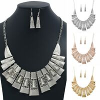 Fashion Women Metal Pendant Choker Chunky Statement Chain Bib Necklace Jewelry