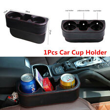 1x Black Leather Car Seat Seam Dual Cup Holder Drink Bottle Storage Mount Stand