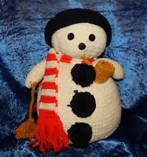 Vintage Hand Knitted & Crocheted Snowman Home Decor~Hat & Scarf removable~FROSTY
