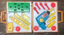 Vintage Fisher Price Tool Kit Kids Play Set Tool Box Wind Up Drill Complete