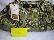 Ted Baker Green Black Midi Snake Leather Crossbody Handbag