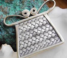 Silber Kettenanhänger 3,5 x 3,5 cm Geflochten Ritter Eckig Amulett Handarbeit