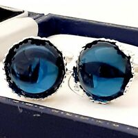 Vintage Montana Blue Glass Cabochon - 15mm Round Silver tone Crown Cufflinks