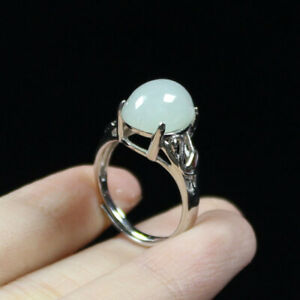 100% A Grade Certified Natural Ice Green Jade Jadeite 925 Silver Ring Gift a2332