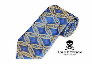 Lord R Colton Masterworks Tie - Sapphire Blue & Gold Showbiz Silk Necktie - New