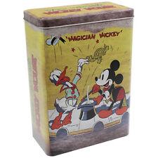 Piccolo Mickey Mouse Magician Retrò Stile TIN TIN STORAGE BOX CONTENITORE Organizzatore