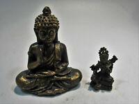 PA77 Ein Bronze + ein bronzierter Polymer Buddha Deko Feng Shui 3,7+6,8cm 90g