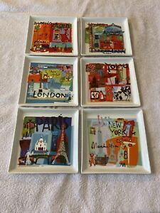CRATE & BARREL World Travel City Plates Appetizer Paris London Venice NYC 6 Set