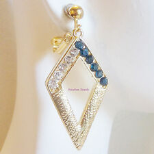 CLIP ON Rhinestone Gold tone Textured  Dangle Fashion Earrings 1 pr Pick Color