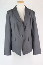 ANN TAYLOR Blazer Jacket 12 LARGE Gray Polyester Wool Lined Career NEW $129