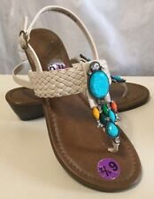 dfbbd61fe Nicole Cute   Colorful Gem   Rhinestone Thong Sandal Low Wedge Sz ...
