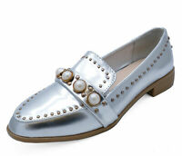 LADIES SILVER PEARL SLIP-ON LOAFERS SMART CASUAL WORK PATENT SHOES SIZES 3-8