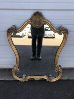 Vintage Hollywood Regency Hanging Wall Mirror Gold Ornate Carving