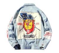 Spring & autumn Street Jacket for Man Patch Design Retro Print Denim Jacket Coat