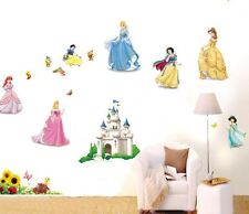 wall stickers princess castle bird flower nursery decor kids removable PVC decal
