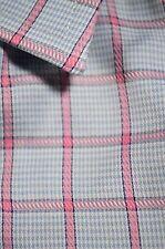 $110 Charles Tyrwhitt Light Blue Pink Plaid Dress Shirt size 16.5 x 34 11012