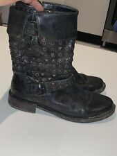 UGG CONOR BLACK LEATHER STUDDED MOTORCYCLE BOOTS UK7.5
