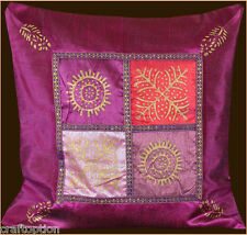 FUCHSIA SILK GOLD BLOCK PRINTING PILLOW COVER/CUSHION COVER FROM INDIA