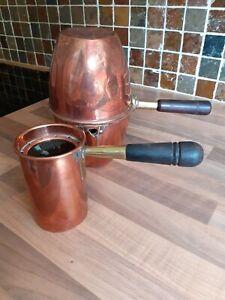 Antique french copper coffee perculator with copper mug
