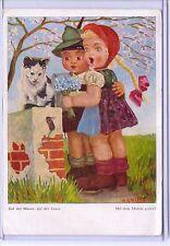 VINTAGE KIDS & CAT WITH MOUSE DUTCH POSTCARD ARTIST SIGNED ARNULP #129