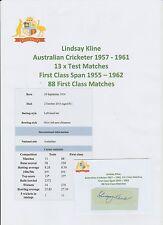 LINDSAY KLINE AUSTRALIAN CRICKETER 13 X TESTS 1957-1961 RARE ORIG HAND SIGNED
