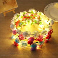 Led light hair band ring headband hair accessories headdress flower garland DT4C