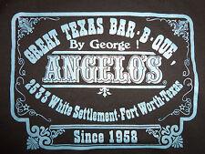 Angelo's Great Texas Bar-B-Que Fort Worth Texas Black Graphic Print T Shirt - M