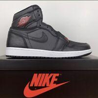 Nike Air Jordan 1 High Retro OG Black Satin Gym Red 555088-060 Men's Size 10