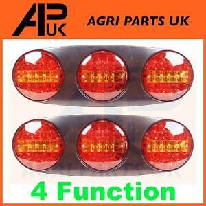 2x 12V LED Trio Rear Side Brake Tail Light Lamp Maypole Paxton Brenderup Trailer