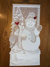 """Victorian Lace Snowman  Red Cardinals Wire Wooden Dowel Wall Hanging 30"""" ❤️tw11j"""