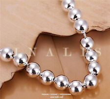 New Women Jewelry 925 Sterling Silver Plated Beads String Chain Bracelet Bangle#