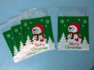 25/50/100X Self Seal Cellophane Sweet Cookies Christmas Party Bags-Xmas Snowman