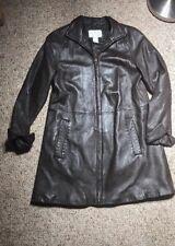 Worthington Women's Lambskin Coat Size S CHOCOLATE BROWN TRENCH LONG JACKET