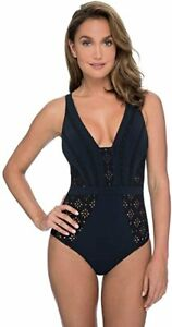NWT PROFILE GOTTEX Black KISS and TELL 1 pc Bathing Suit SWIMSUIT sz 14 E9602074